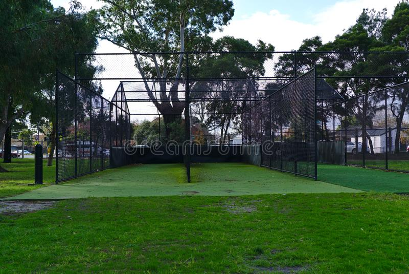 Cricket net with black wire mesh royalty free stock photography