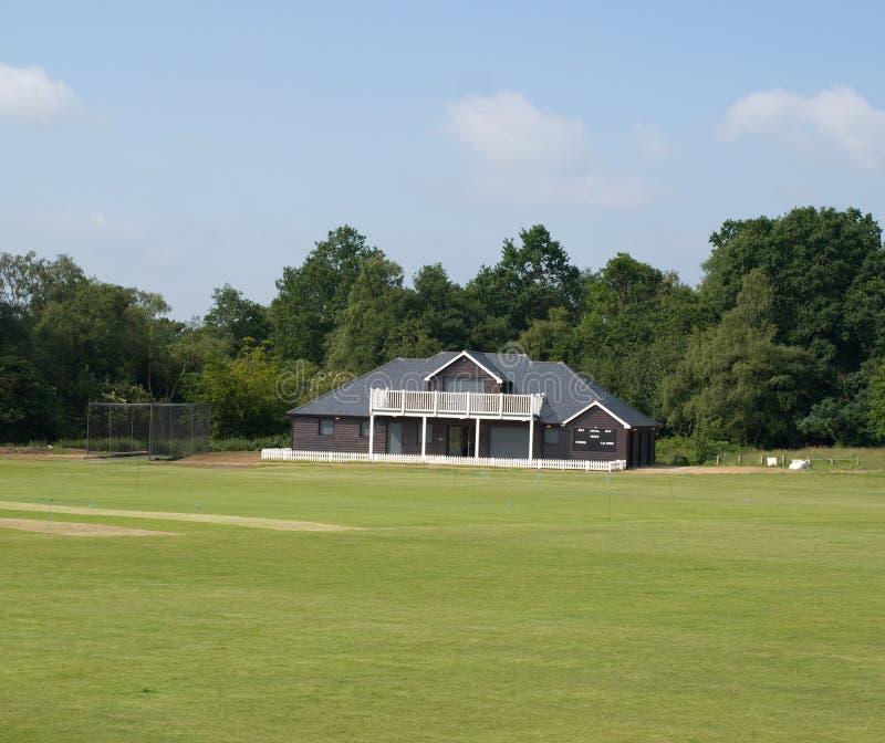 Cricket Pavilion. An English cricket pavilion an pitch stock photo