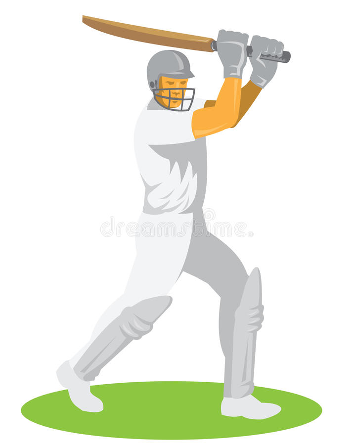 Cricket Player Batsman Batting Retro. Illustration of a cricket player batsman batting facing front set on isolated white background done in retro style royalty free illustration