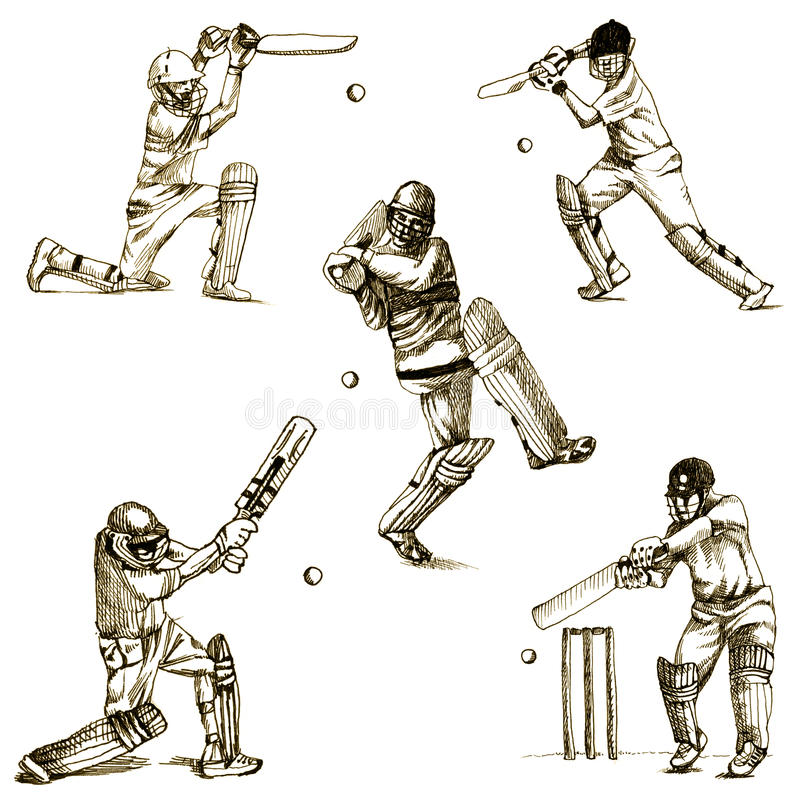 Download Cricket players stock vector. Illustration of draft, ball - 23760555