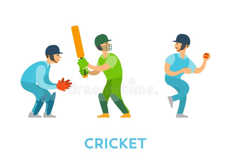 Cricket Players Team of Characters with Bats Balls. Cricket game vector, people playing competitive kind of sports, characters holding bat, wearing glove and royalty free illustration