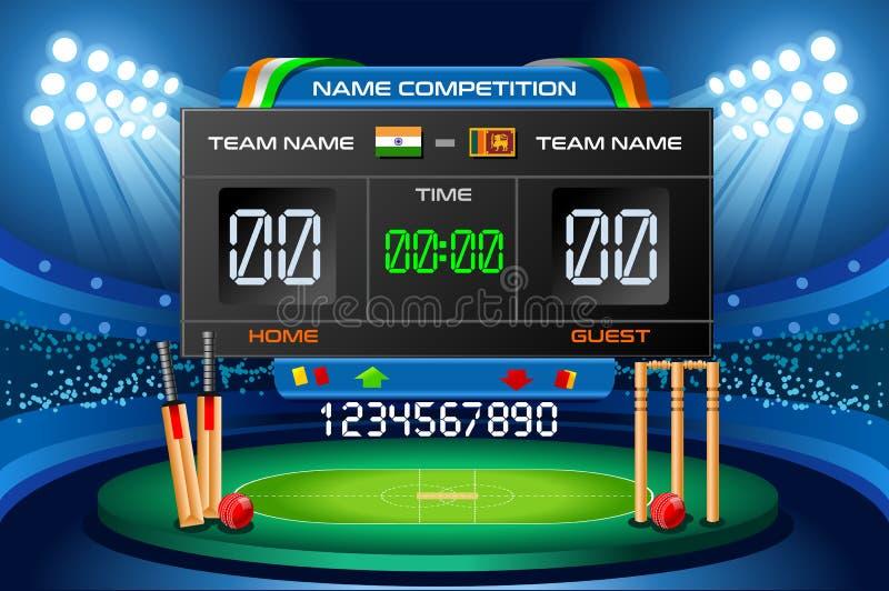 Cricket scoreboard vector background Hitting recreation stock illustration