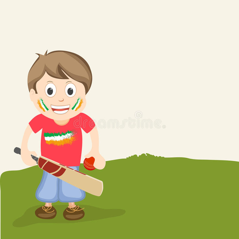 Cricket sports concept with cute little boy. vector illustration