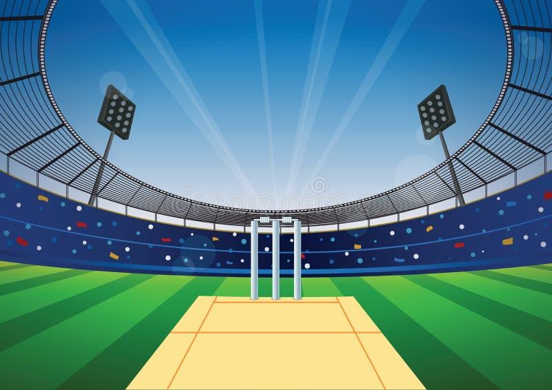 Cricket stadium background. Cricket field with bright stadium. vector illustration vector illustration
