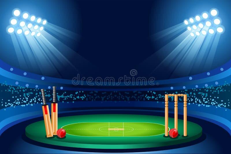 Cricket stadium Hitting vector background. Cricket stadium background. Hitting recreation equipment Sport ball. Vector design vector illustration