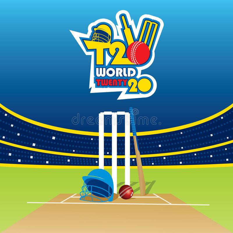 Cricket t20 world cup banner royalty free illustration