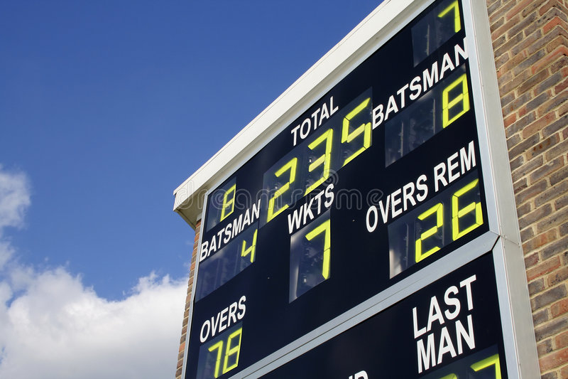 cricket tablica wyników fotografia royalty free