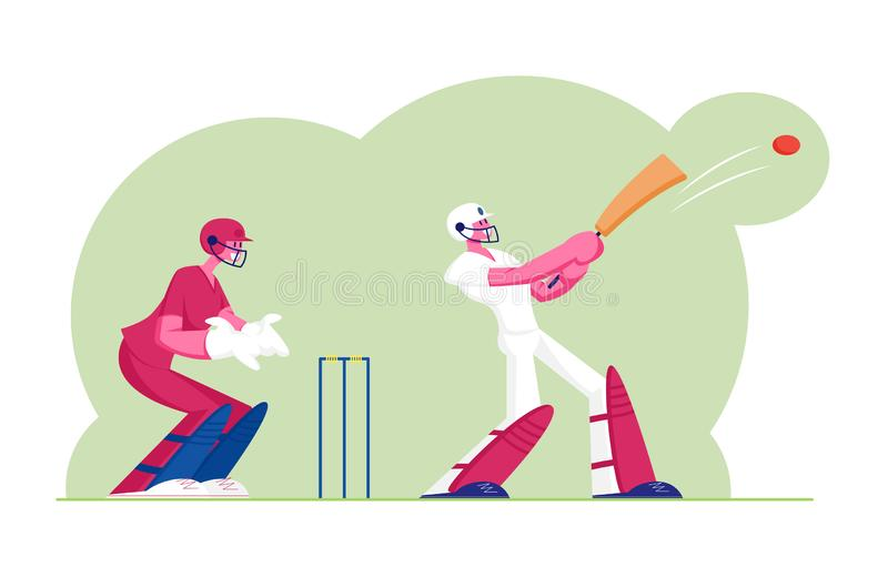 Cricket Tournament Concept. Batsman in Professional Uniform Hitting Ball with Bat, Sportsmen Playing Traditional Game stock illustration