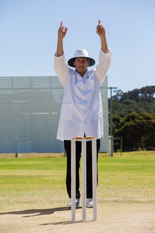 Cricket umpire signalling six runs during match royalty free stock photo