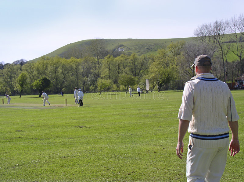Cricket on village green stock photos