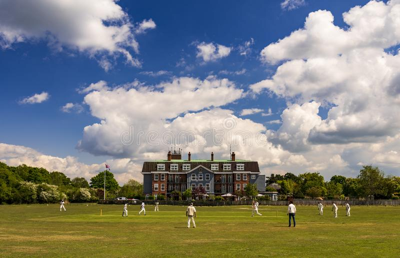 Cricket on a village green in the New Forest, Hampshire royalty free stock photo