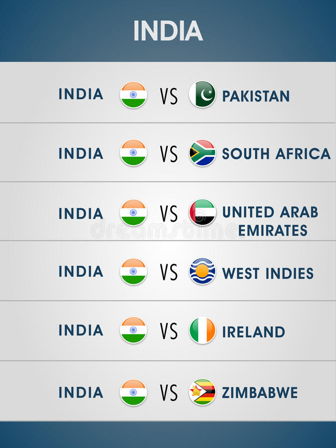 World Cup 2015 Matches Schedule  Stock Illustration