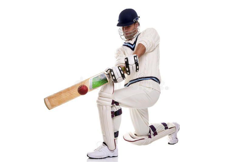Cricketer playing a shot royalty free stock photography