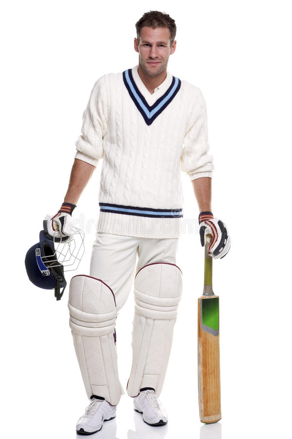 Cricketer portrait royalty free stock photo
