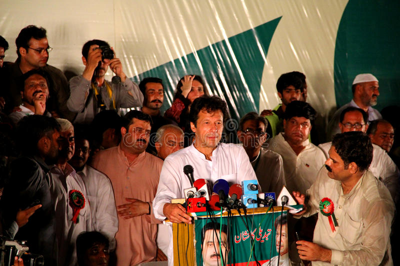 Cricketer Turned Politician Imran Khan. GUJRANWALA, PAKISTAN - SEPT. 25: Chairman Pakistan Tehreek-e-Insaf Imran Khan addressing to the crowd during a political royalty free stock photography