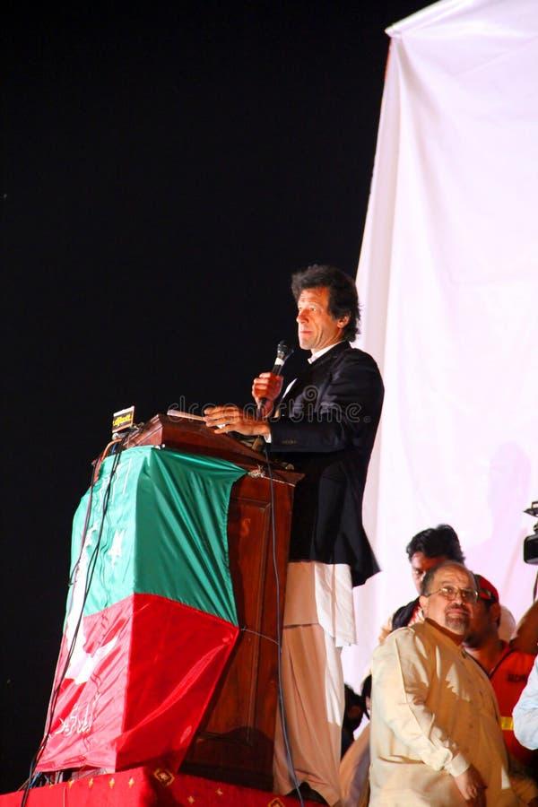 Cricketer Turned Politician Imran Khan. LAHORE, PAKISTAN - OCT 30: Chairman Pakistan Tehreek-e-Insaf Imran Khan speaks during a political rally on October 30 stock image