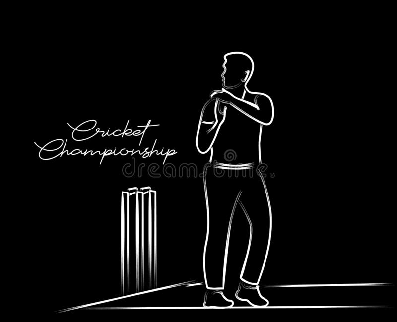 Cricketer Want Review - single line art drawing stock illustration