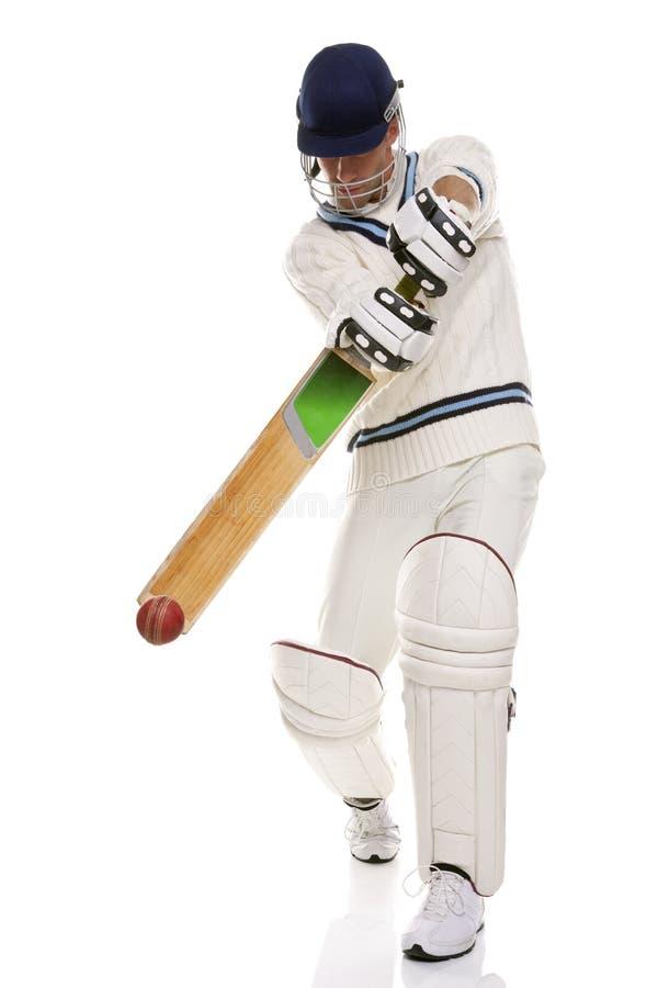 Cricketspeler die ashot speelt stock afbeelding