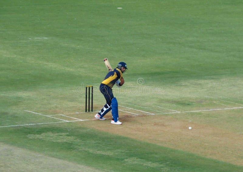 Cricketspeler Yuvraj die Singh een Sixer raken royalty-vrije stock foto's