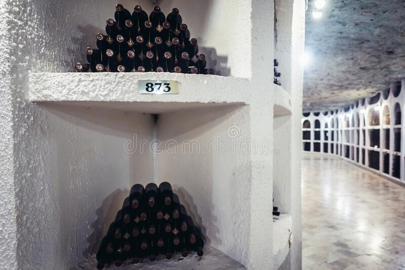 Cricova winery in Moldova. Collections of wine bottles in cellars of famous winery in Cricova town, Moldowa, moldova, national, oenotheque, vine, oenotec stock photos