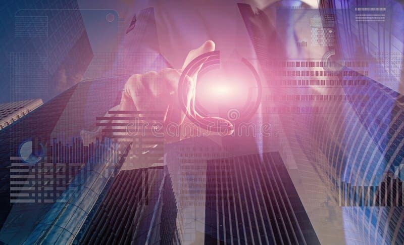 Crie a carteira virtual Dinheiro virtual de minera??o Resolva o bloco ganham o lucro Dinheiro digital da moeda virtual Blockchain imagem de stock royalty free