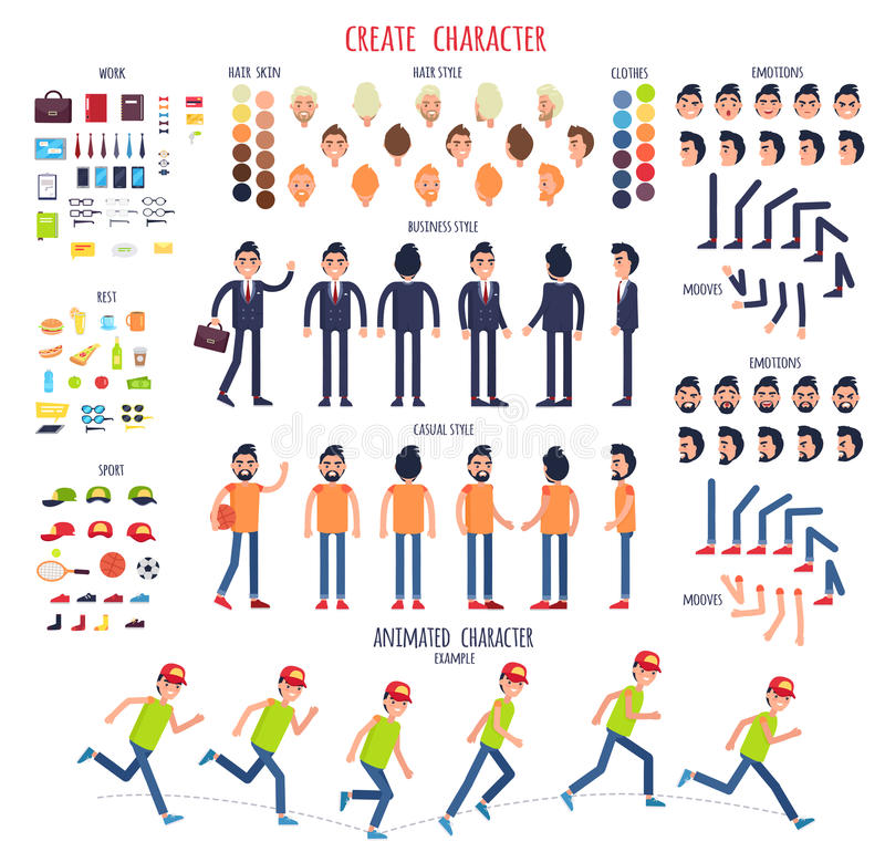 Crie o caráter Grupo de partes do corpo diferentes ilustração stock