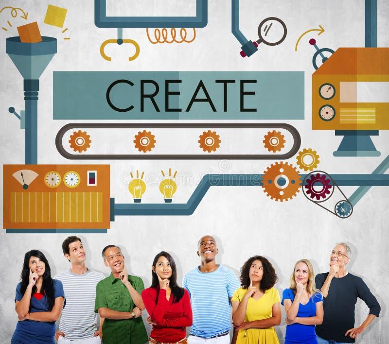 Crie o conceito das ideias do desenvolvimento da imaginação da inovação imagens de stock royalty free
