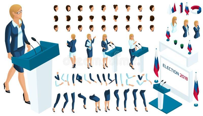 Crie seu caráter isométrico mulher de negócio 3d, candidato presidencial para exigida, eleição, votando ilustração do vetor