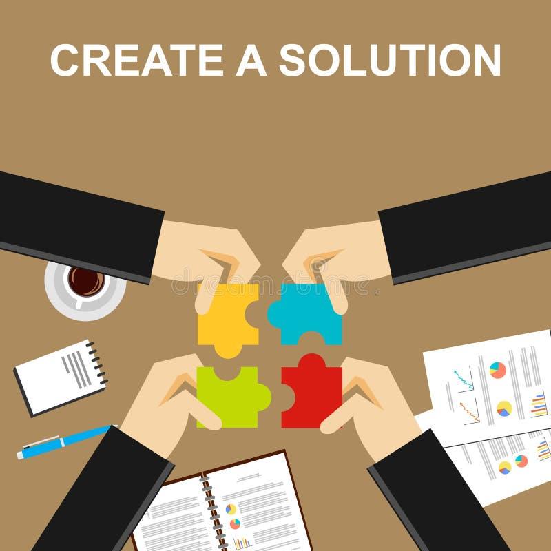 Crie uma ilustração da solução Fazendo um conceito da solução Executivos com partes do enigma Conceitos lisos da ilustração do pr ilustração stock