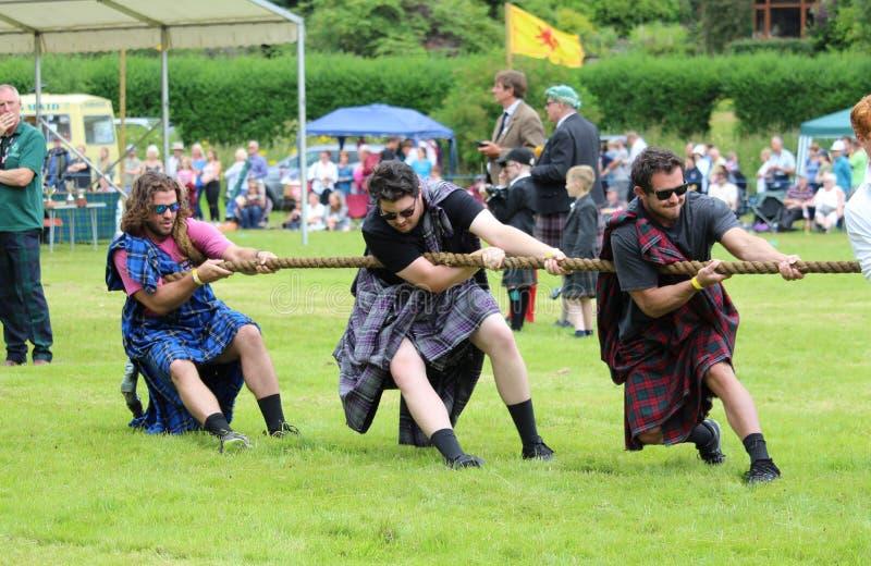 `Tug-of-War` event Highland Games, Scotland stock photo