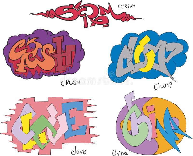 Criez, écrasez, graffiti groupez, de clou de girofle en masse compacte et de porcelaine illustration stock