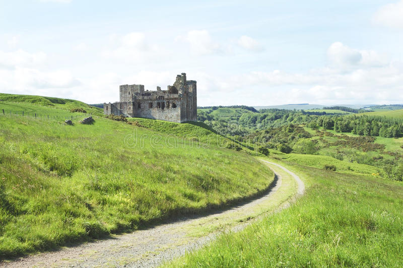 Crighton Castle and hills of Midlothian stock photography