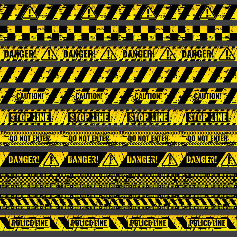 Crime accident scene caution, warning police vector grungy yellow and black tapes royalty free illustration