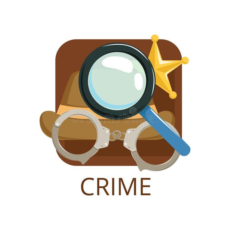 Crime cinema genre, symbol for cinema, theatre, channel, cinematography, movie production vector Illustration royalty free illustration