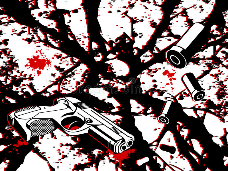 Crime city. Crime scene background with gun and bullets royalty free illustration