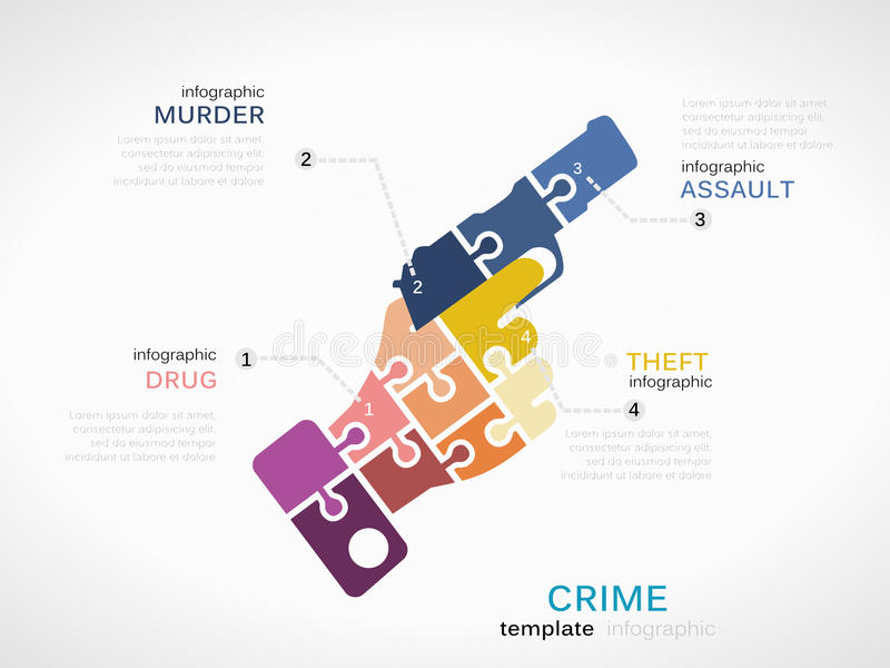 Crime. Concept infographic template with gun made out of puzzle pieces vector illustration