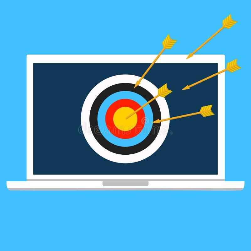 Crime de Cyber, DOS de DDOS, attaque de service, ordinateur portable de victime V illustration libre de droits
