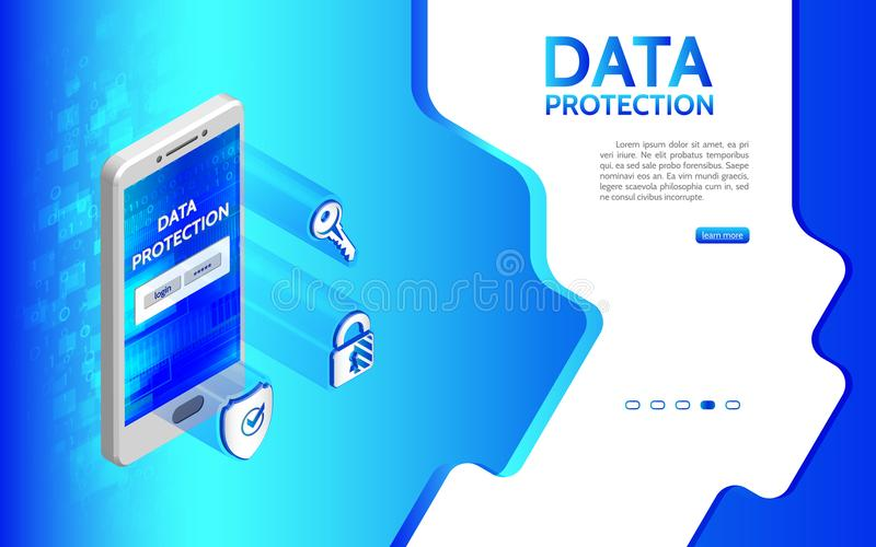 Crime de Cyber et fond de protection des données avec le smartphone illustration stock