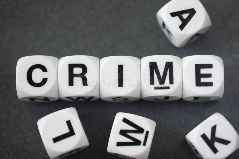 Crime de Word sur des cubes en jouet images libres de droits