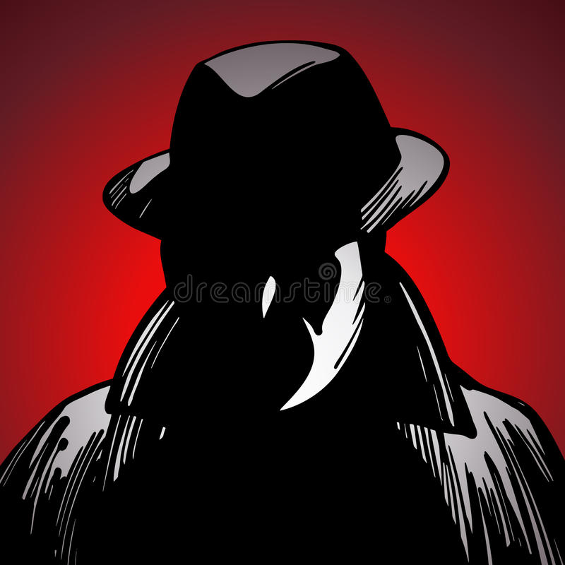 Crime Detective. A detective in shadows searches for crime clues vector illustration