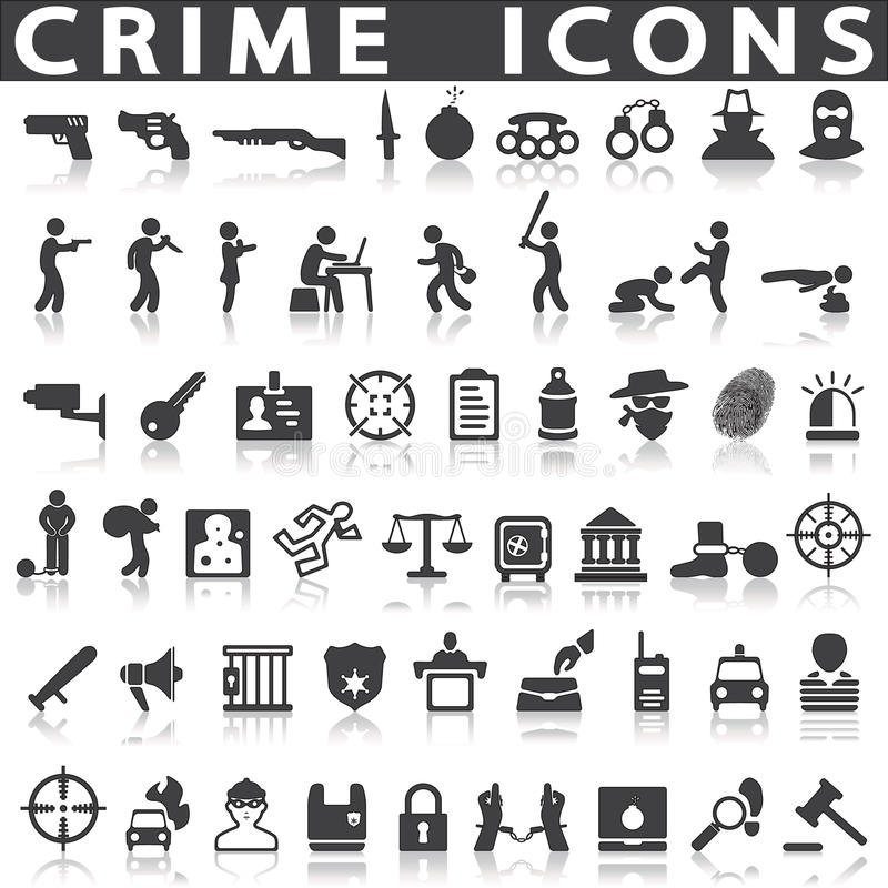 Crime icons. On a white background with a shadow royalty free illustration