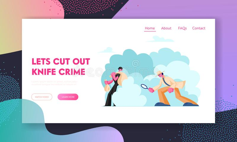 Crime Investigation Website Landing Page. Investigator with Magnifying Glass Solving Robbery. Thief Hiding with Sack stock illustration