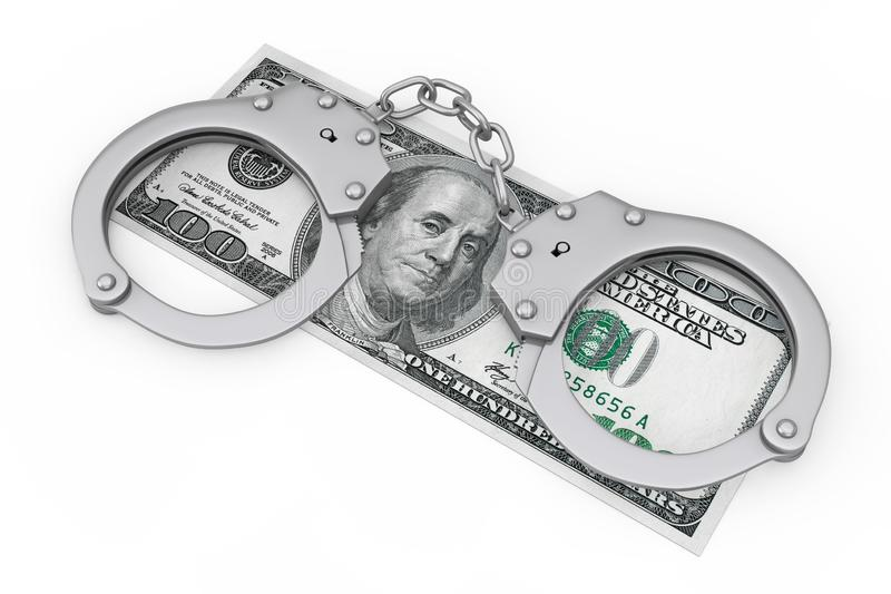 Crime and Law Concept. Metal Handcuffs over Dollars Money Banknote. 3d Rendering vector illustration