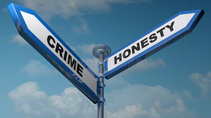 Crime - plaques de rue d'honnêteté - illustration du rendu 3D illustration libre de droits