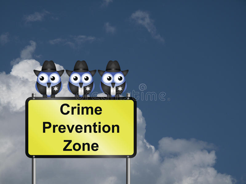 Crime Prevention USA. Comical USA crime prevention zone sign against a cloudy blue sky stock photo