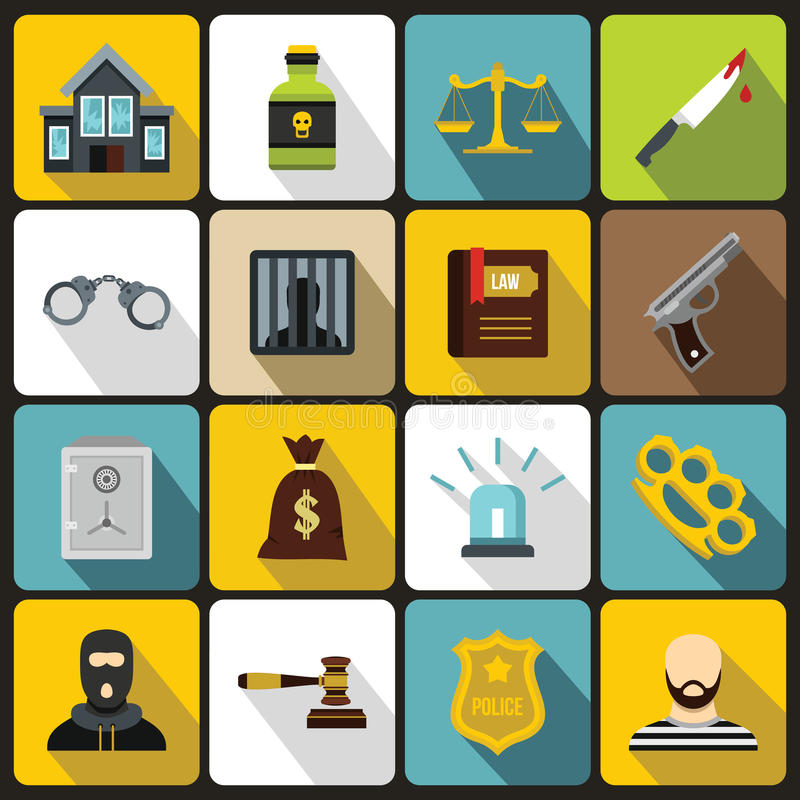 Crime and punishment icons set, flat style. Crime and punishment icons set in flat style. Law and order set collection vector illustration royalty free illustration