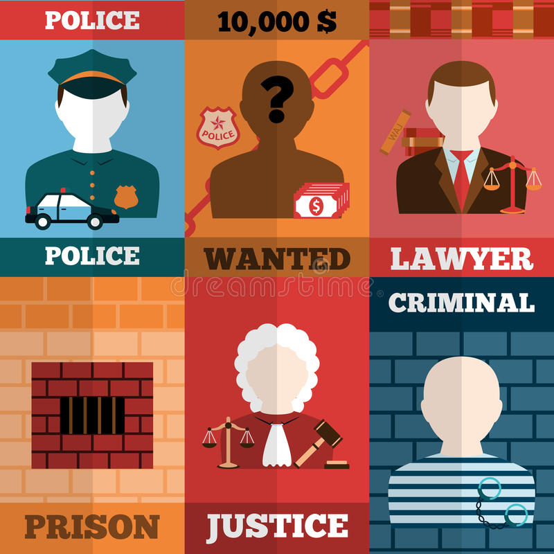 Crime And Punishment Poster Set Stock Vector Illustration Of