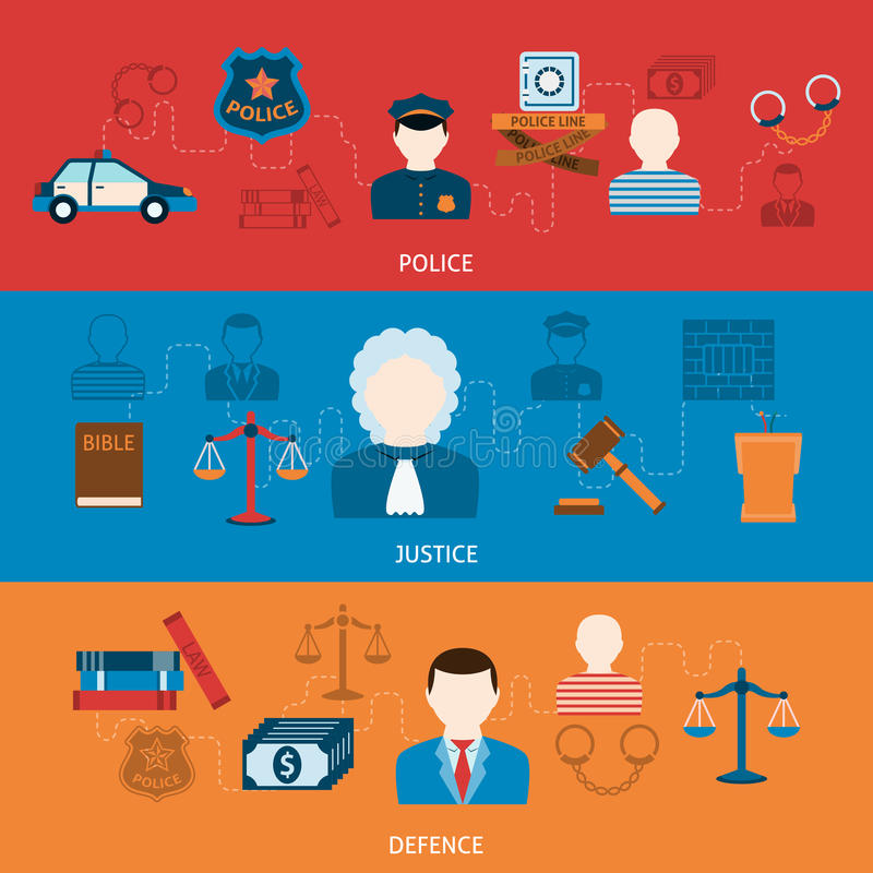 Crime and punishments horizontal flat banners royalty free illustration