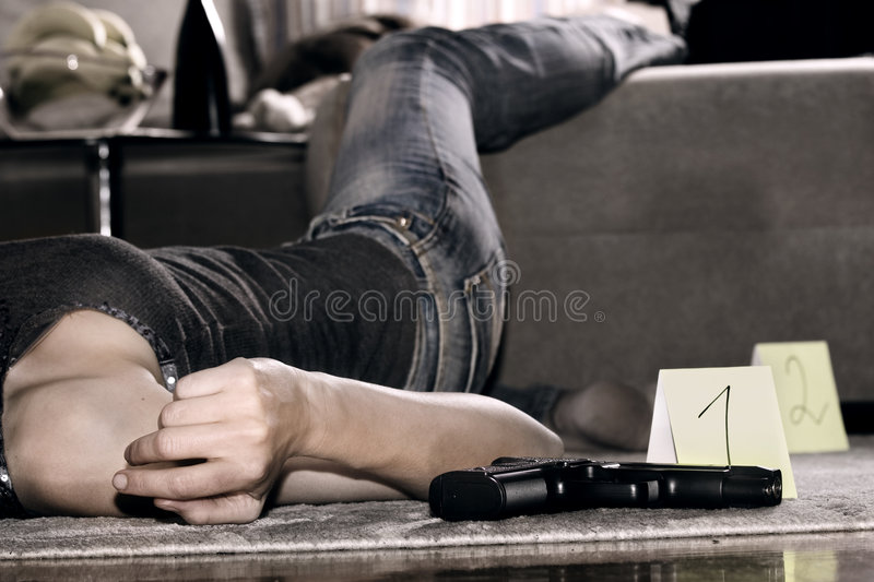 Crime scene in apartment stock images