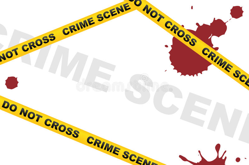 Crime scene background. With caution tapes and drops of blood on white background. EPS file available vector illustration